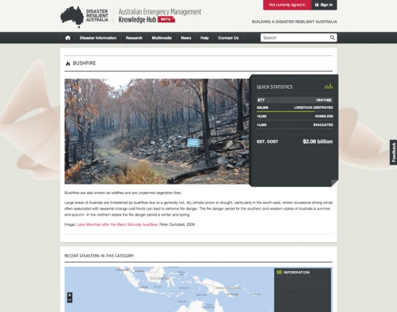 Details on the Bushfire disaster type in the Australian Emergency Management Knowledge Hub